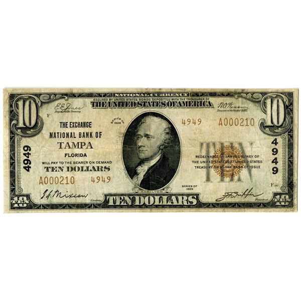 Florida. The Exchange National Bank of Tampa, $10, Series of 1929 T2, Ch#4949
