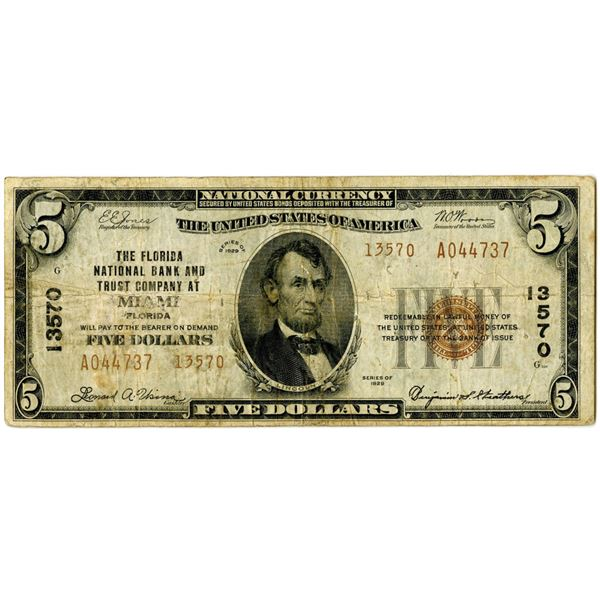 Florida. The Florida National Bank and Trust Co., at Miami, $5, Series of 1929 T2, Ch#13570.