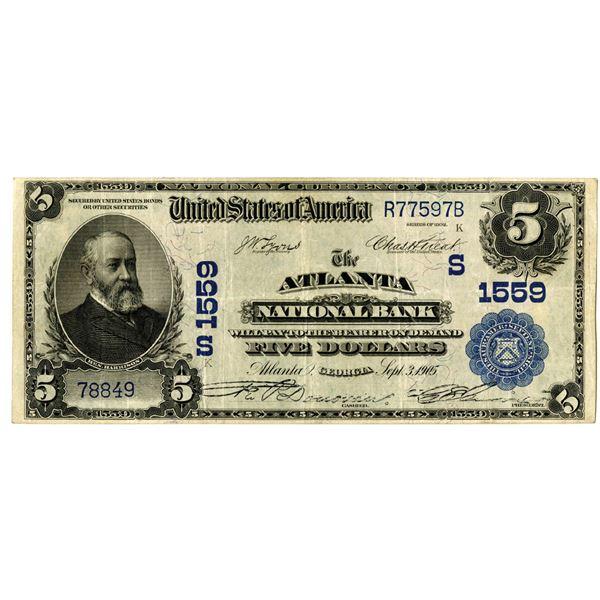 Georgia. The Atlanta National Bank, $5, Series of 1902 PB, Ch# S 1559.