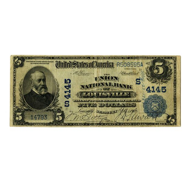 Kentucky. Union National Bank of Louisville, $5, Series of 1902 DB, Ch# S 4145.