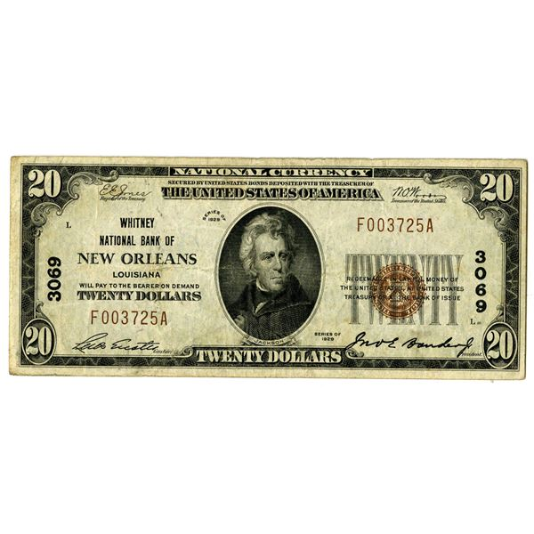 Louisiana. Whitney National Bank of New Orleans, $20, Series of 1929 T1, CH#3069.