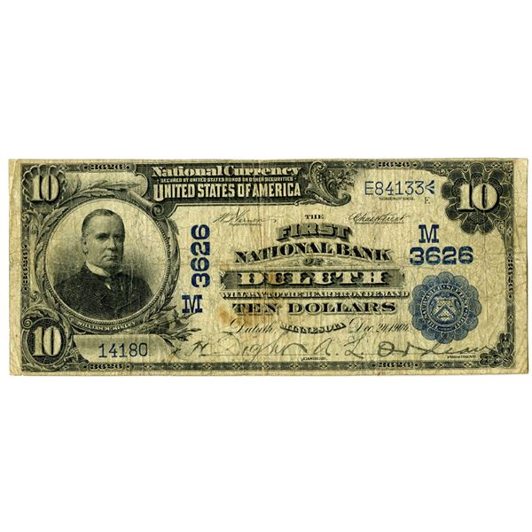 Minnesota. First National Bank of Duluth, $10, 1902 DB, Ch#M 3626.
