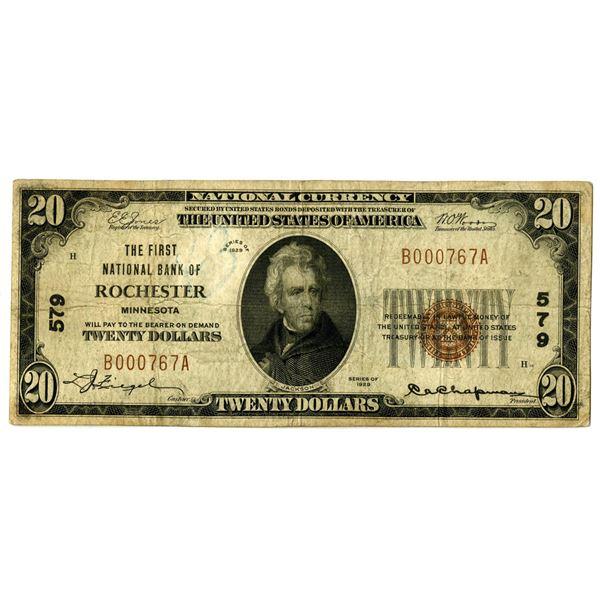 Minnesota. First National Bank of Rochester, $20, 1929 T1, Ch#579.