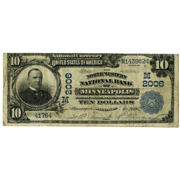 Minnesota. Northwestern National Bank of Minneapolis, $10, Series of 1902 DB, CH#M 2006.