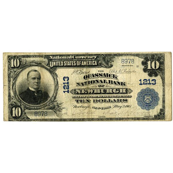 New York. Quassaick National Bank of Newburgh, $10, Series of 1902 PB, Ch#1213.