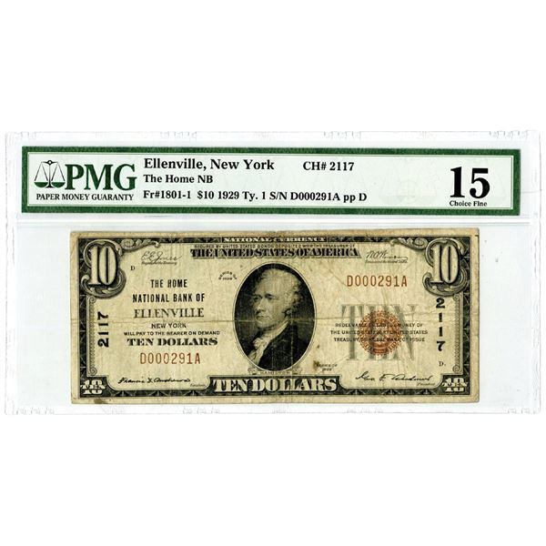 New York. The Home National Bank of Ellenville, $10, Series of 1929 T1, Ch#2117, Fr#1801-1.