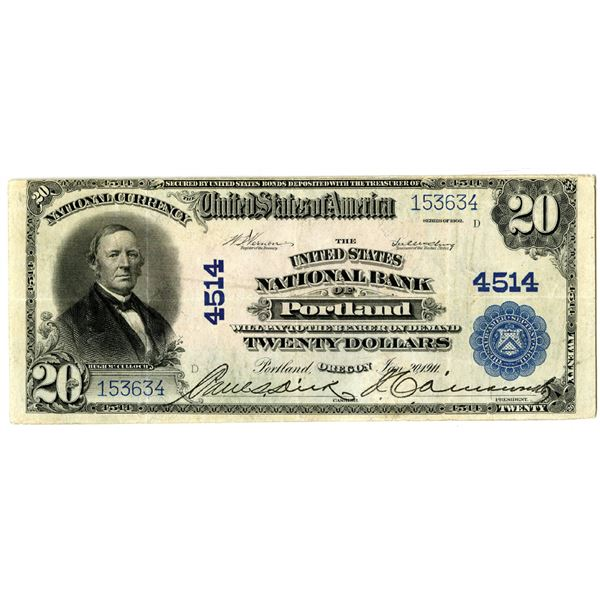 Oregon. United States National Bank of Portland, $20, Series of 1902 PB.