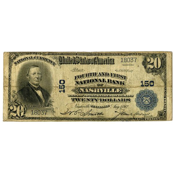 Tennessee. Fourth and First National Bank of Nashville, $20, Series of 1902 PB, Ch#150