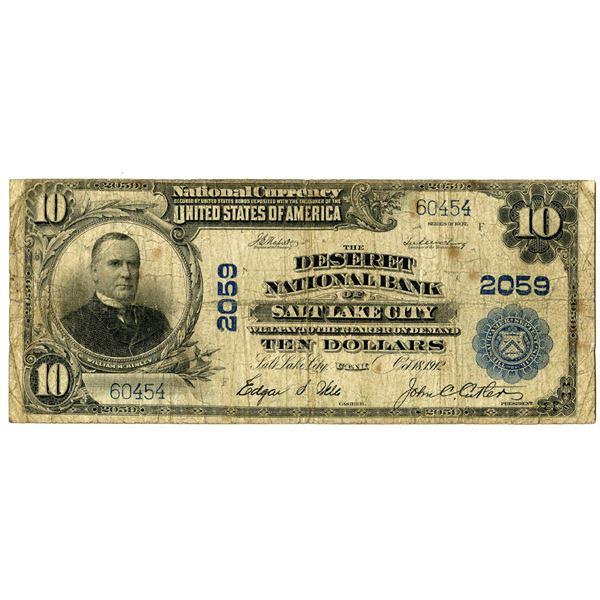 Utah. The Deseret National Bank of Salt Lake City, $10, Series of 1902 PB, Ch#2059