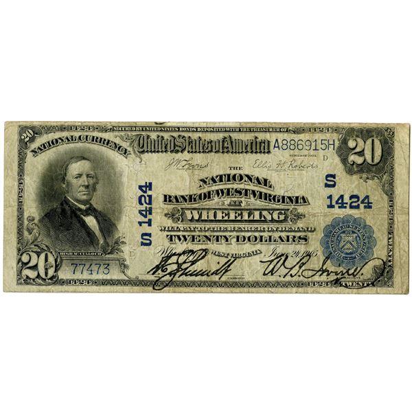 West Virginia. National Bank of West Virginia at Wheeling, $20, Series of 1902 PB, CH#S 1424.