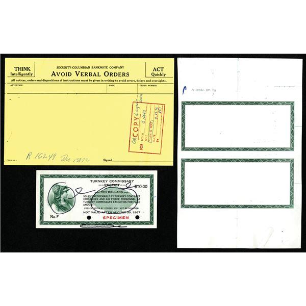 Turnkey Commissary Receipt, 1967 M.P.C. Vietnam Era Specimen Scrip Note Used as Model with Correspon
