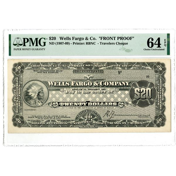Wells Fargo & Co., ND (1907-09) Front Proof Travelers Cheque