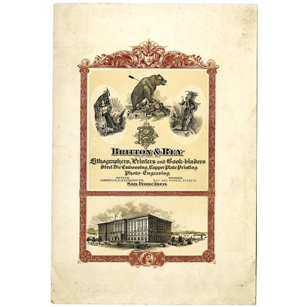 Britton & Rey, ca. 1900-1920 Printers Proof Advertising Sheet