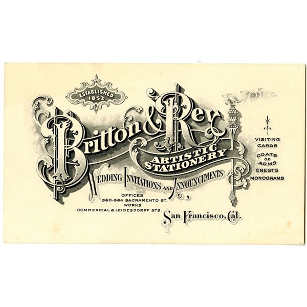 Britton & Rey, ND (ca.1880's) Intaglio Printed Ornate Business Card