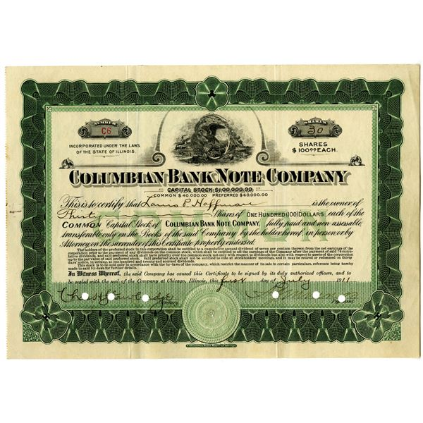 Columbian Bank Note Co. 1911 I/C Stock Certificate