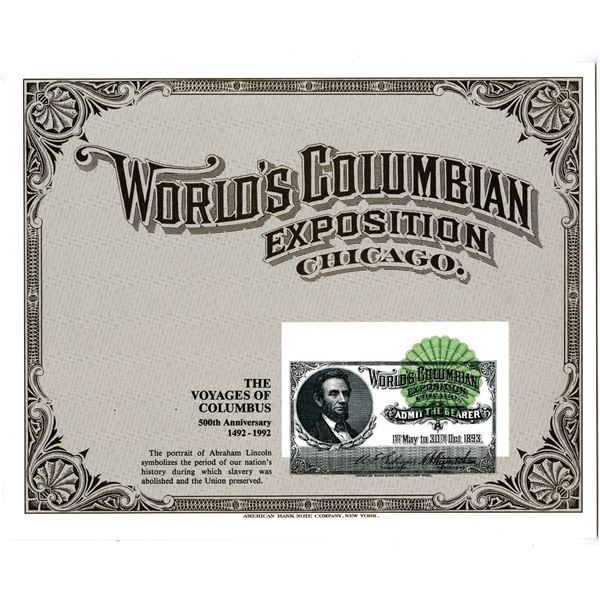 World's Columbian Exposition, 1992 Progress Proof Souvenir Card with Printing Error.