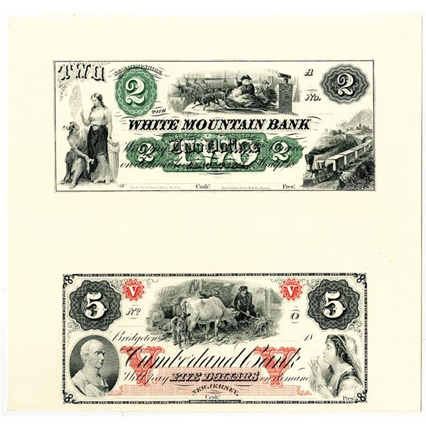 American Bank Note Co., 1850-60's (Reprinted in1994) Uncut Proprietary Proof Banknote Pair