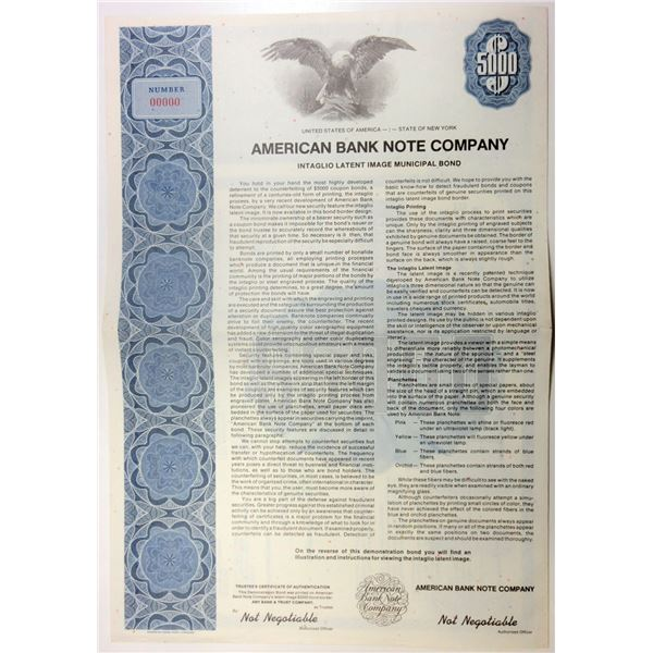 American Bank Note Co., ca.1970-80's Specimen Advertising Bond with Security Features