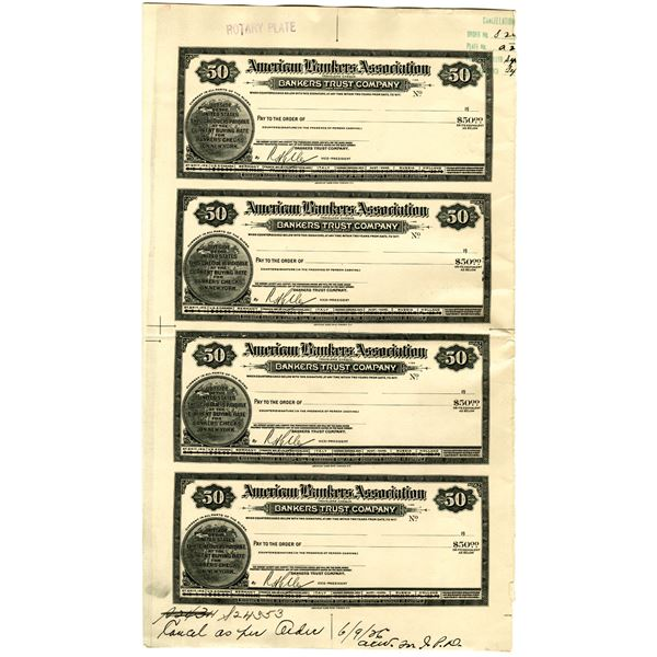 American Bankers Association 1926 Uncut Proof Traveler's Cheque Quartet