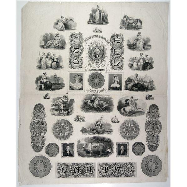 Burton & Gurley Bank Note Engravers Proof Advertising Vignette Sheet, ca. 1837 to 1840.