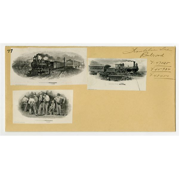 Franklin Bank Note Co. ca. 1877-1904, 3 Different Proof Railroad and Related Vignettes Mounted on Ar