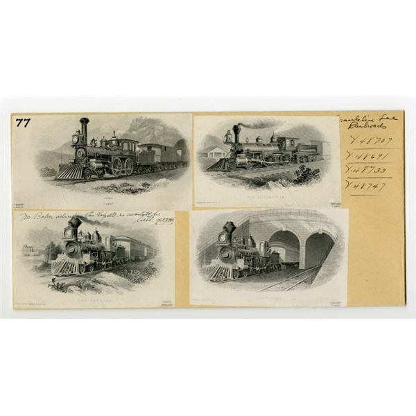 Franklin Bank Note Co. ca. 1877-1904, 4 Different Proof Railroad Vignettes Mounted on Archival Stora
