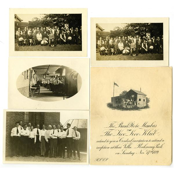 Bank Note Members of the Koo Koo Klub 1889 Reception Invitation & Real Photograph Quartet