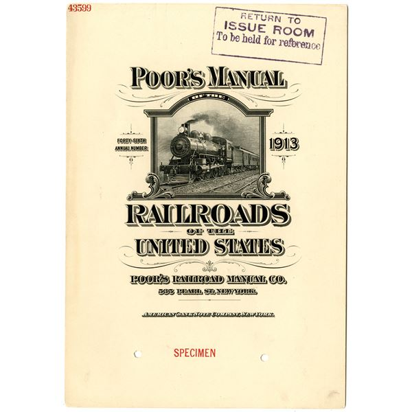 Poor's Manual of the Railroads of the United States, 1913 Specimen Manual Cover by ABNC