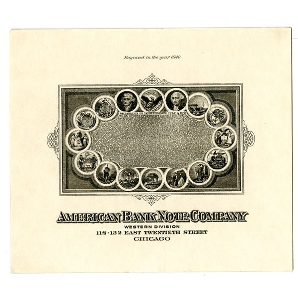 """ABN Proof Vignette """"American Bank Note Co. Western Division"""" ca. 1840-90s"""