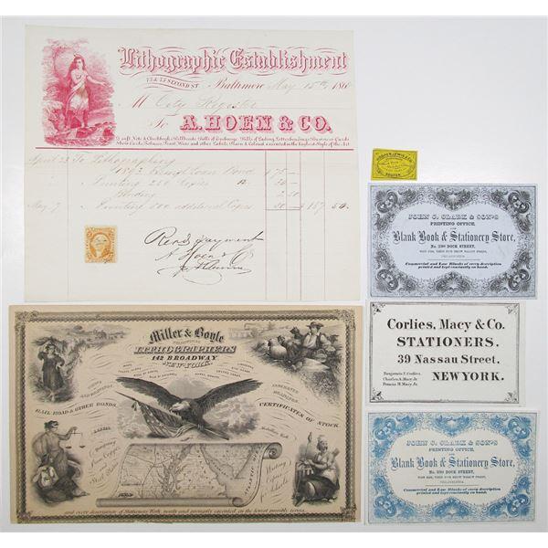 Group of 6 Printing Company Advertisements & Ephemera, ca.1850's to 1870's