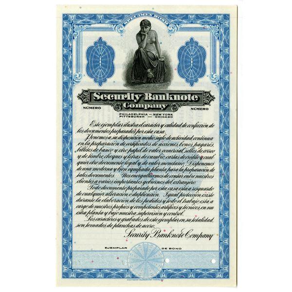 Security Banknote Co., ca.1920-30's Specimen Spanish Advertising Bond