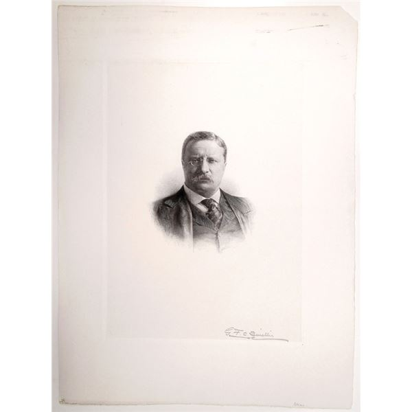Theodore Roosevelt Large Proof Engraving By G.F.C. Smillie and Signed by Him.