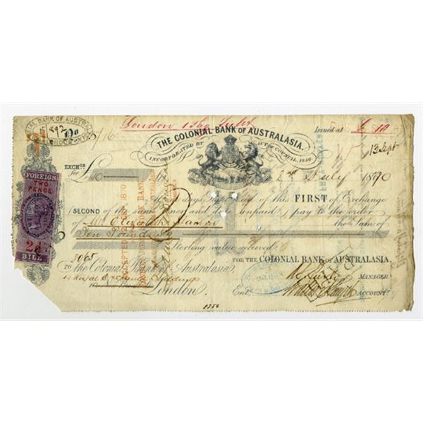 Colonial Bank of Australasia, 1870 I/C First of Exchange Draft