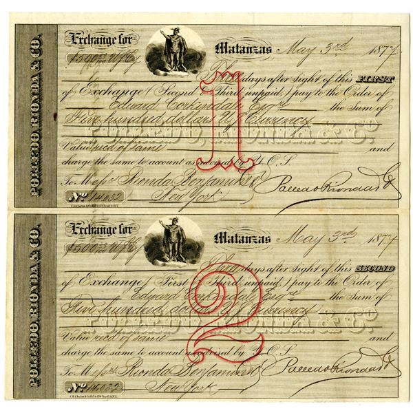 Polledo, Rionda & Co. 1877 Uncut First and Second Exchange Pair