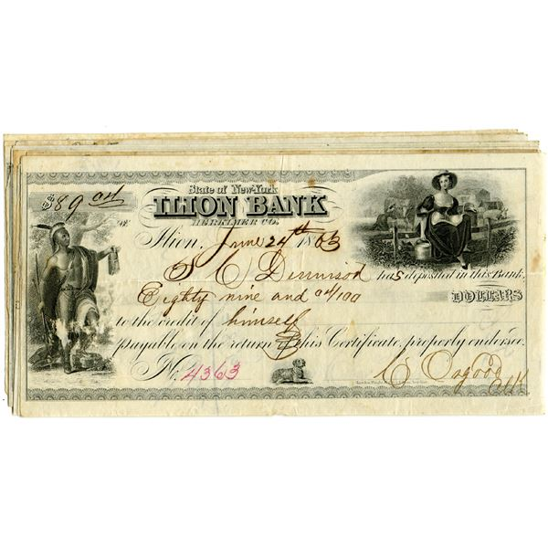 Ilion Bank, 1860s Engraved Issued Certificate of Deposit Assortment of 15