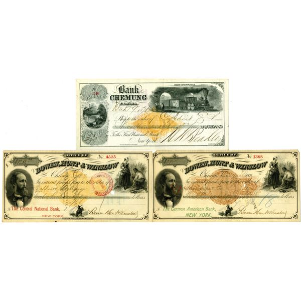 Bank of Chemung and Office of Bowen, Hunt & Winslow I/C Imprinted Revenue Check/Draft Trio