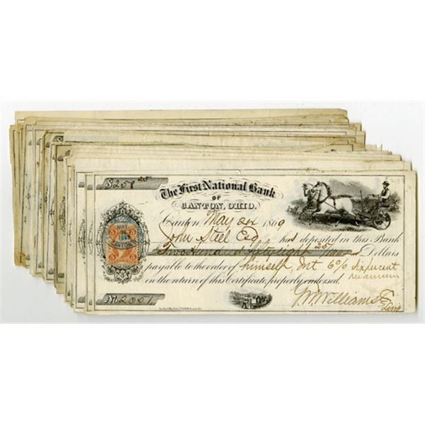 First National Bank of Canton, Ohio Issued Check Assortment, 1869-70