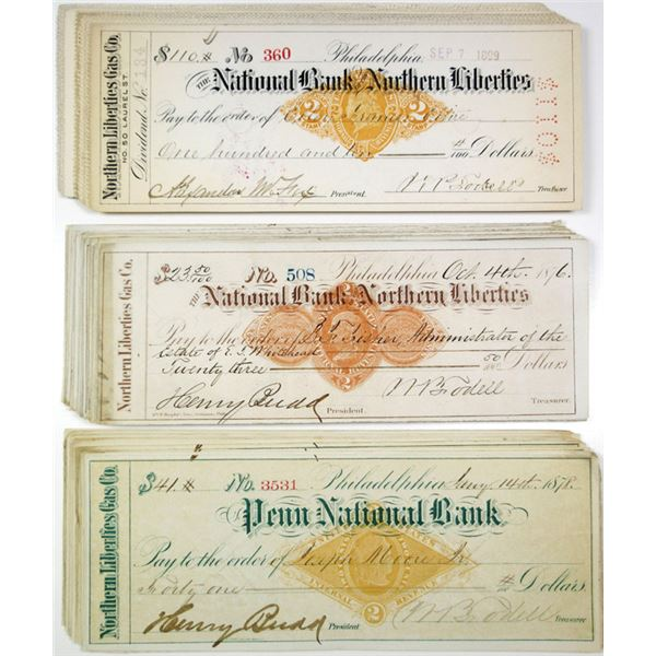 Penn NB and NB of the Northern Liberties I/c Bank Checks, ca.1870-1900 All with RN-D1; G1 or X Impri