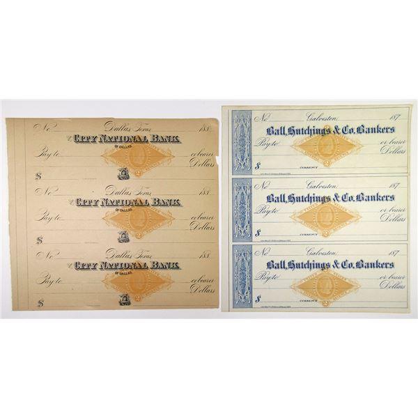 Dallas and Galveston, Texas, 1870 to 1880's U/U, RN-G1 Imprinted Revenue Uncut Sheets of 3 checks ea