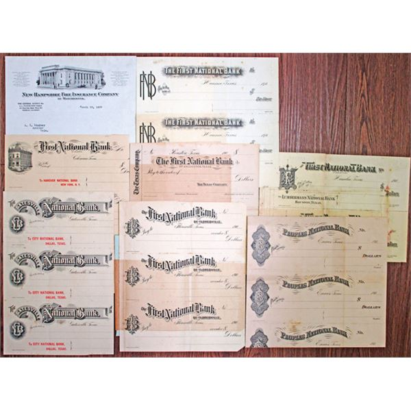 Texas Proof & Specimen Group of  7 Uncut Sheets of Checks and Printing Ephemera, ca.1900-20s