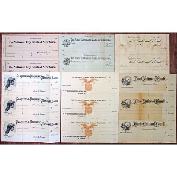 Texas Proof & Specimen Uncut Sheets of Checks Group of 6, ca.1900-19