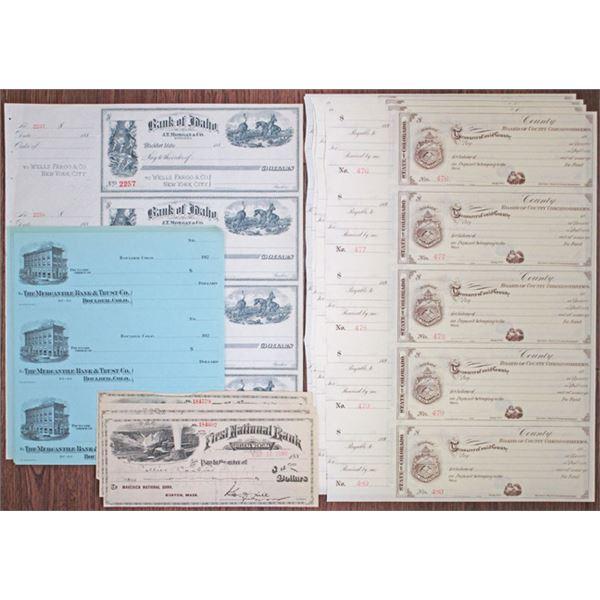Colorado, Idaho and Montana Assortment of Checks and Drafts, ca.1880-1920s