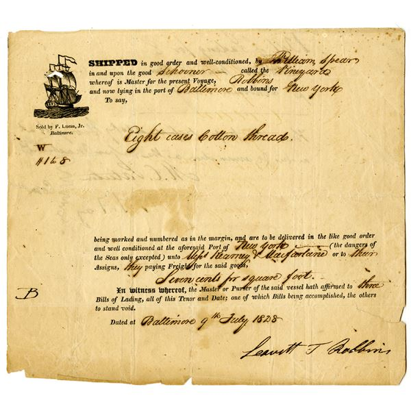 Baltimore to New York, 1828 Shipping Document Bill of Lading