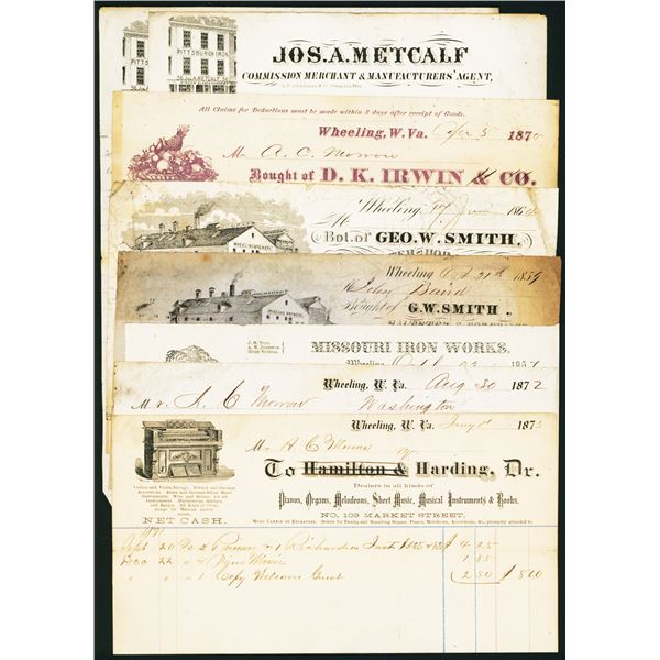 Wheeling, Virginia and West Virginia, 1850-1870's Commercial Invoices and Bill Heads Assortment.