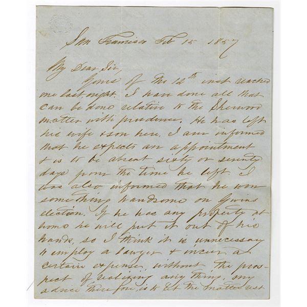 San Francisco, 1857 Handwritten Letter Regarding Business Opportunities