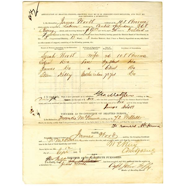 Application of a Drafted Person, 1863 Civil War Substitute Document