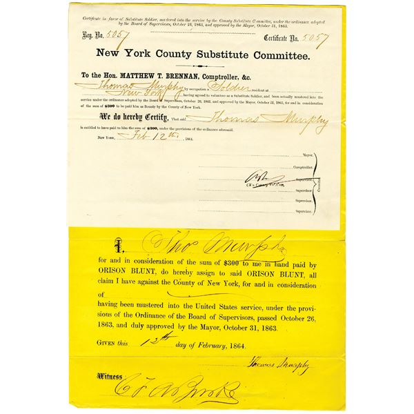 New York County Substitute Committee, 1864, $300 Civil War Substitute Document