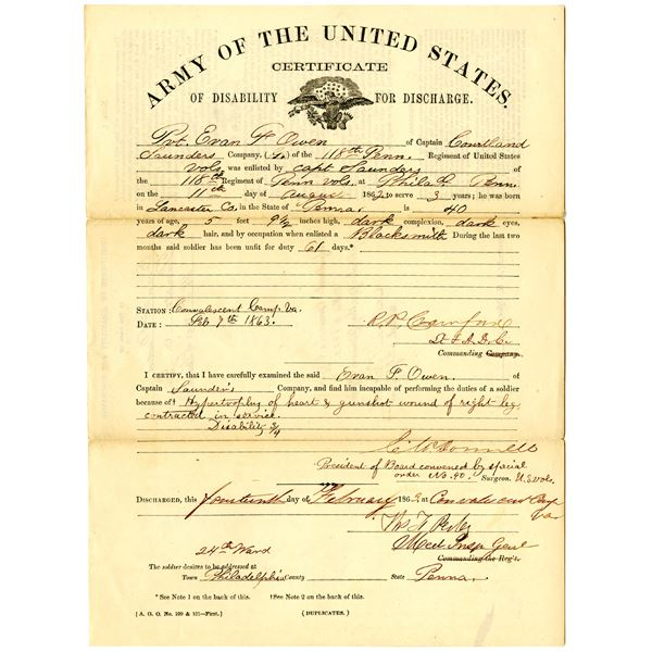 Army of the United States 1863 Certificate of Disability for Discharge