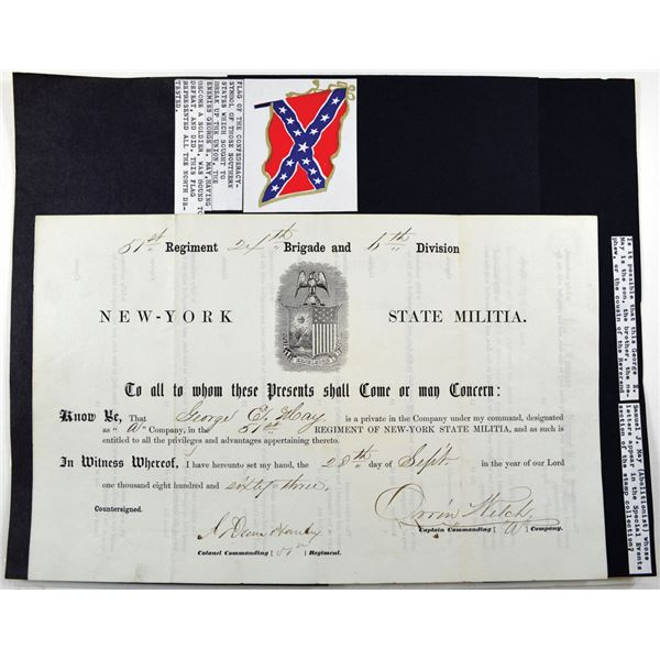 New York State Militia, 1863 51st Regiment Private's Certificate of membership for George E. May.