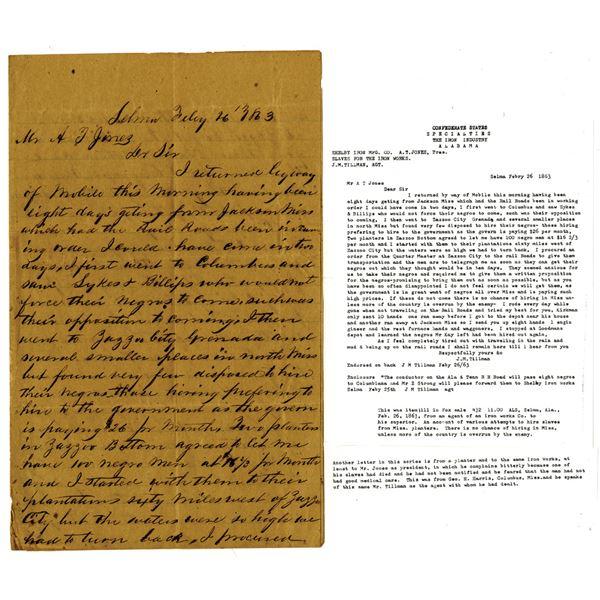 Selma, Alabama, 1863 Confederate States Letter Regarding Slave Purchase